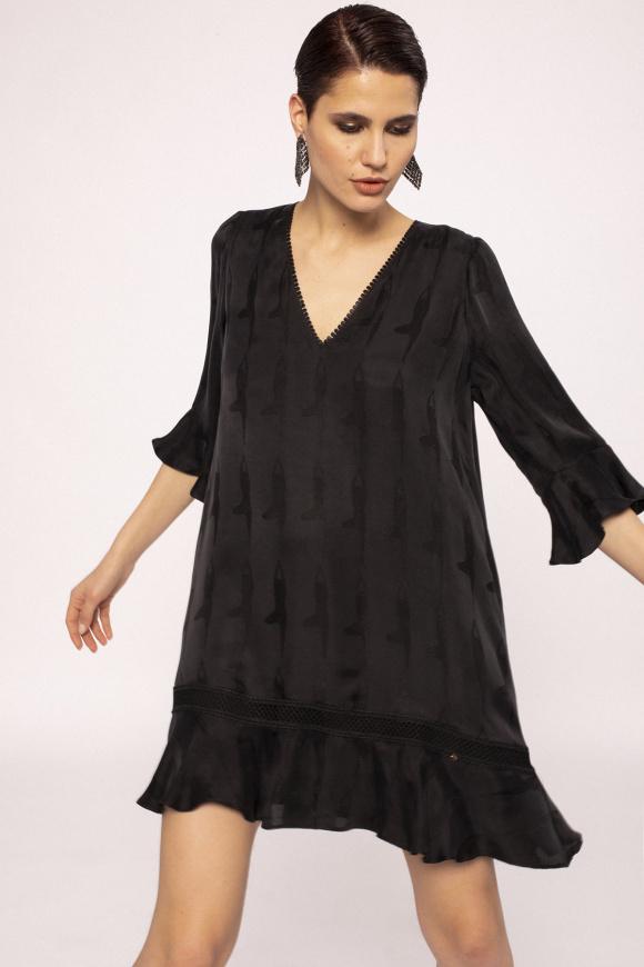 V-neck cupro mini dress