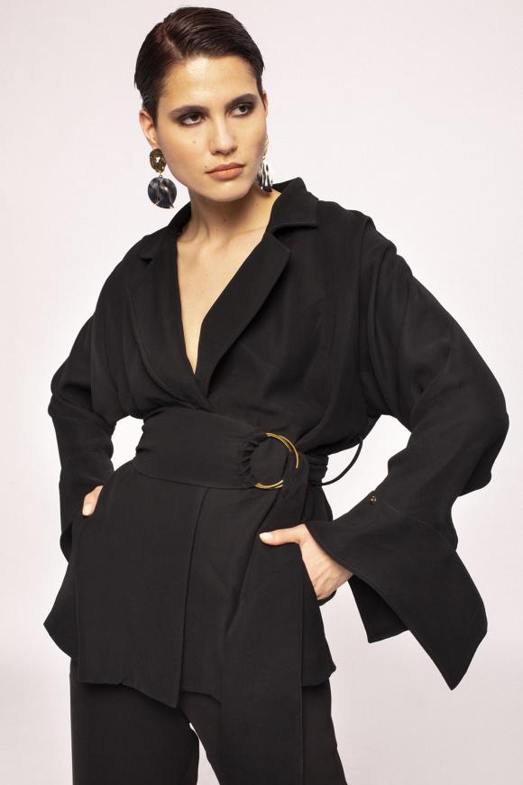 Waist detail wrap jacket