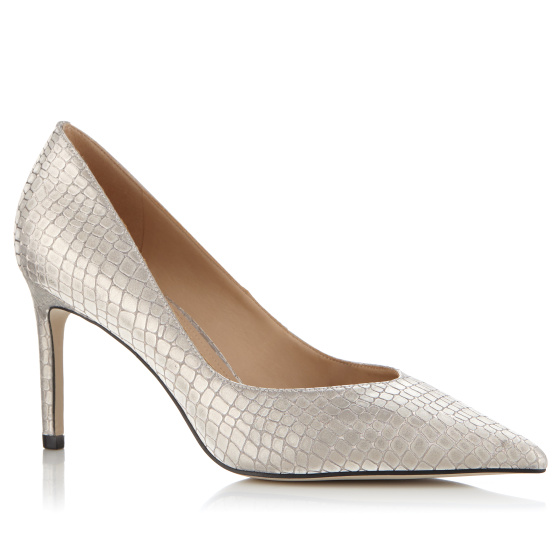 Silver-tone glitter finish stiletto