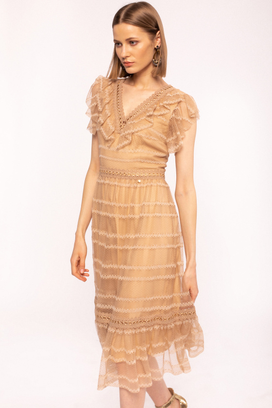 Metallic details lace dress