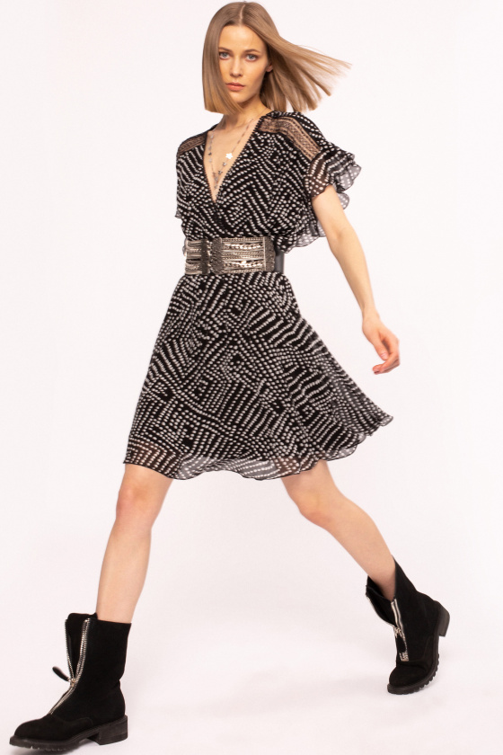 Polka-dot viscose dress