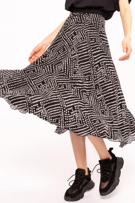 Polka-dot viscose skirt