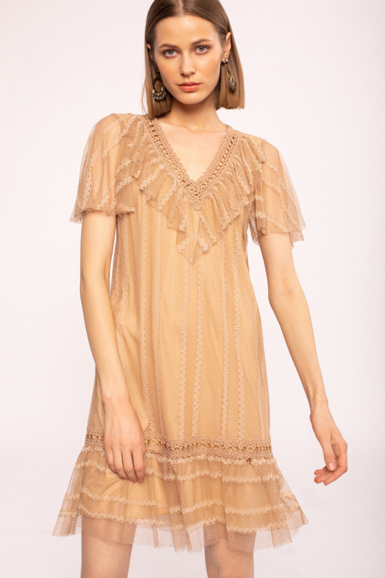 Metallic details ruffled dress