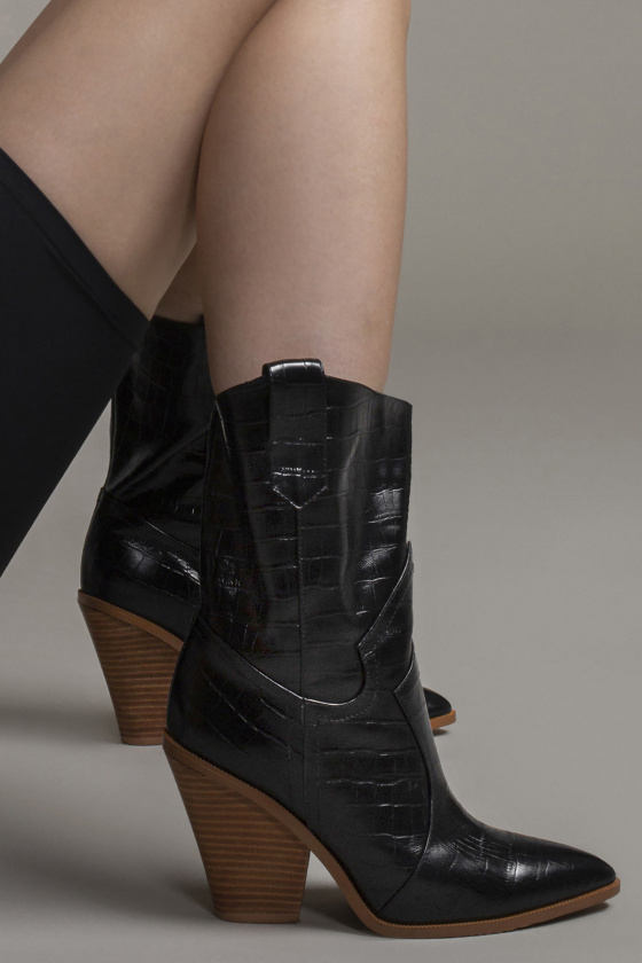 Croc print leather boots