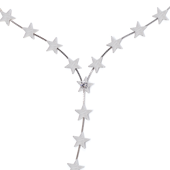 Colier texturat cu stele argintii