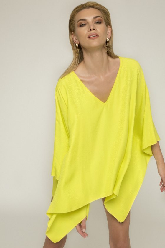 Asymmetrical design viscose top