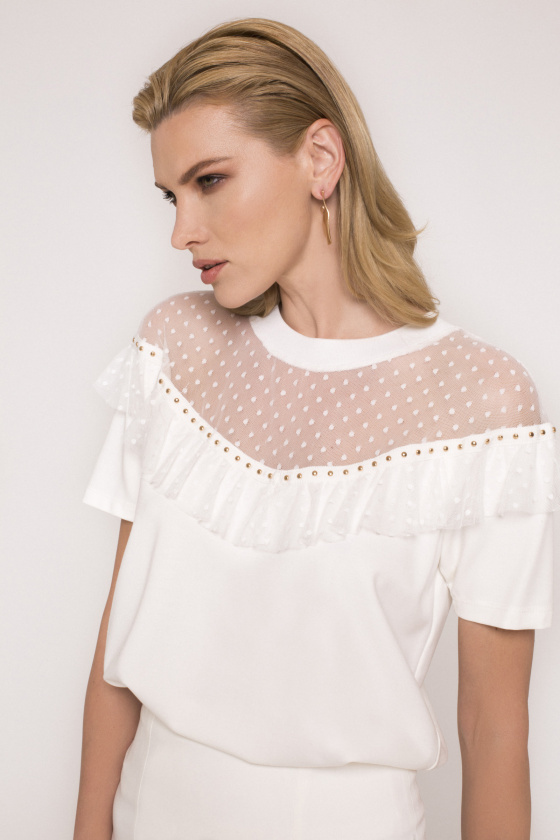 Metallic applique ruffled top