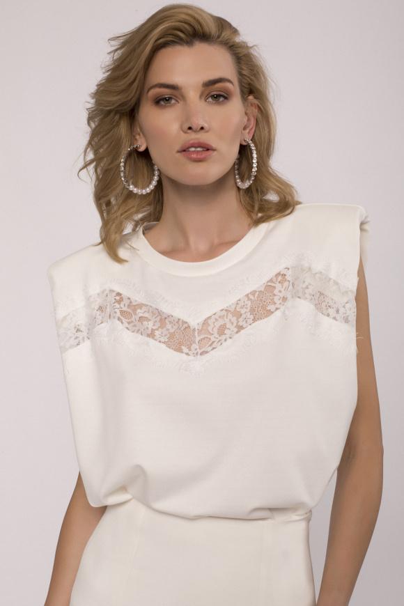 Shoulder-pads sleeveless T-shirt