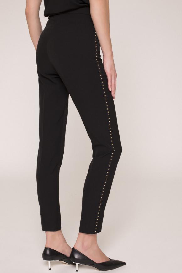 Pantaloni cu aplicatii metalice pe lateral
