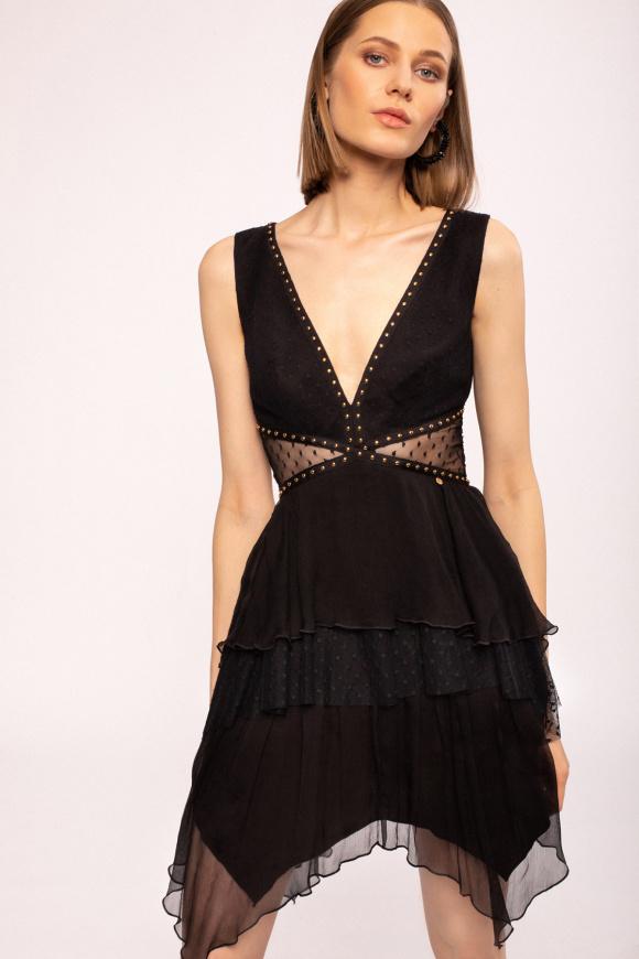 V-neck mini silk dress