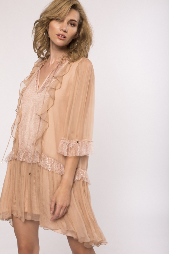 Lace applique silk dress