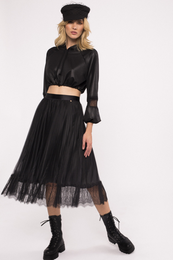 Tulle pleated midi skirt