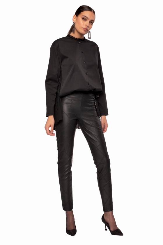 Ecological leather skinny pants