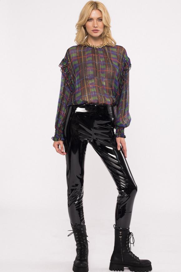 Pantaloni cu finisaj lacuit