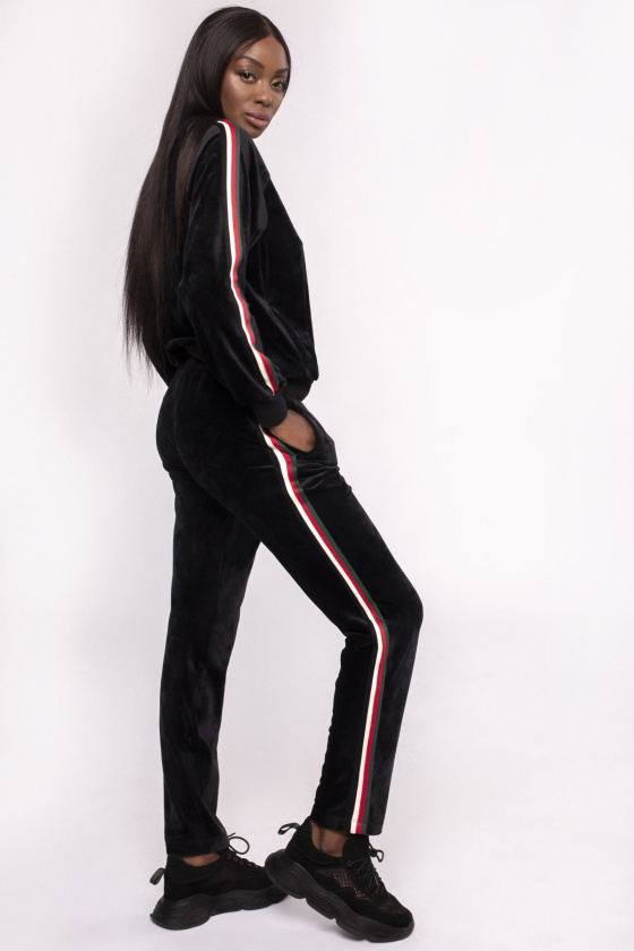 Pantaloni din catifea cu banda laterala