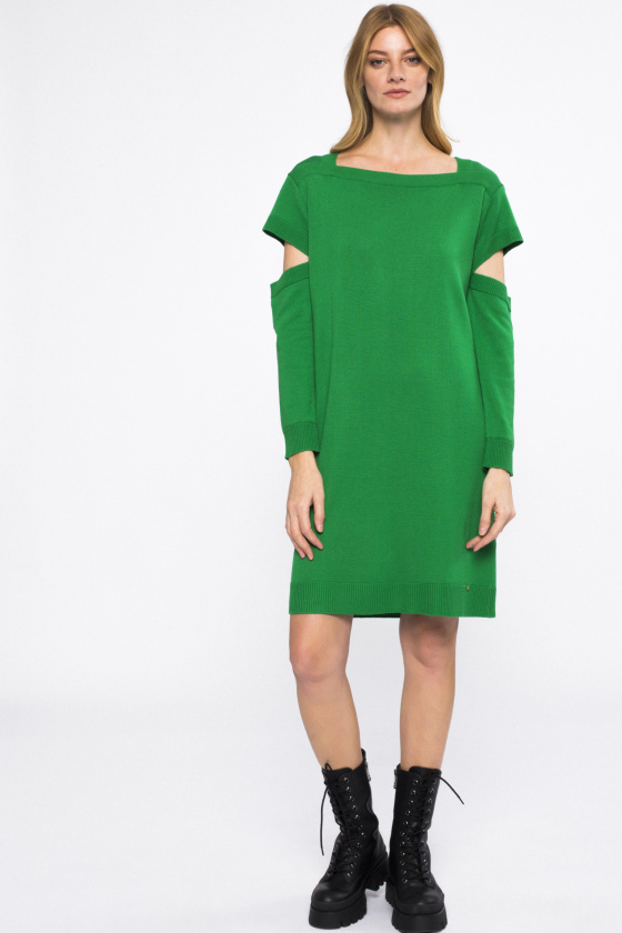 Cut sleeve wool dress