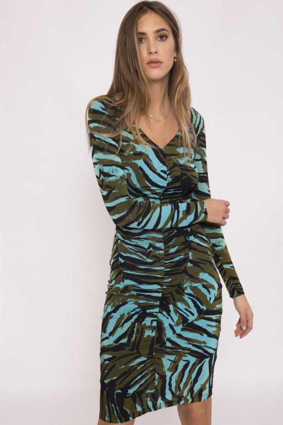 Rochie cu fronseu si imprimeu zebra