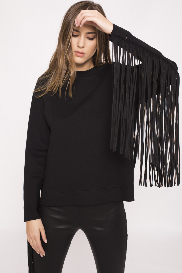 Rear-fringe detail hoodie