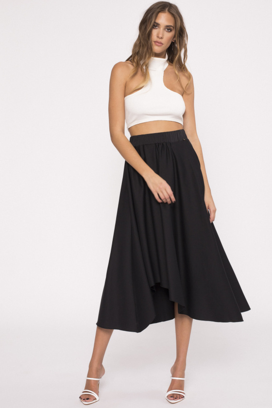 Asymmetrical poplin skirt