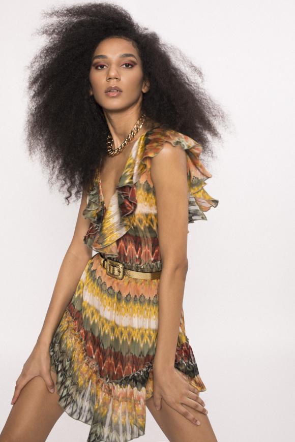 Golden thread mini dress
