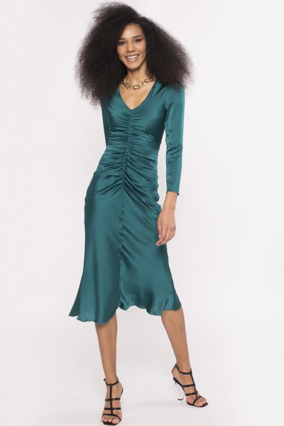Gathered satin dress