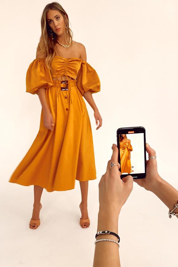 Side pockets poplin skirt