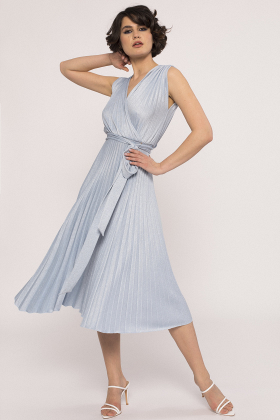 Lurex thread pleated dress