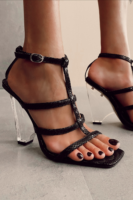 Transparent heel leather sandals
