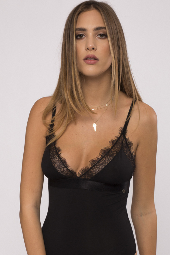 Lace-trimmed bodysuit