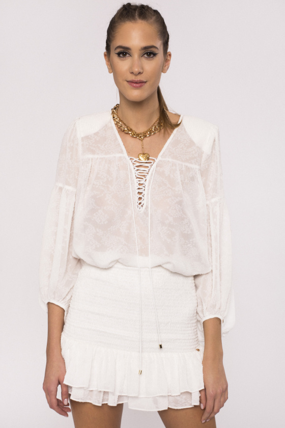 Embroidered viscose top