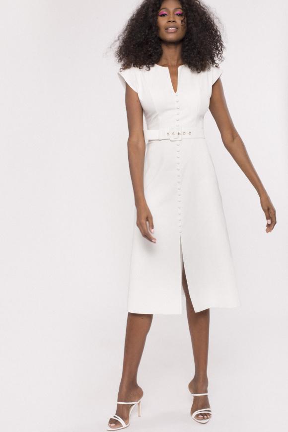 Oversized shoulders cotton dress