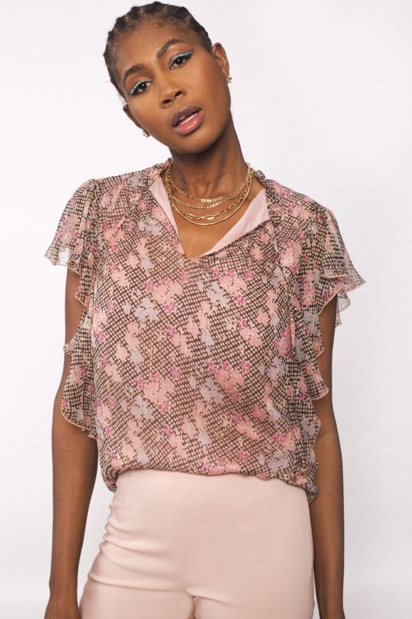 Lurex thread silk top