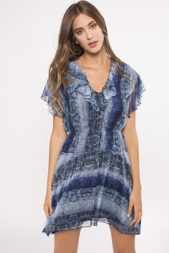 Asymmetrical design printed dress
