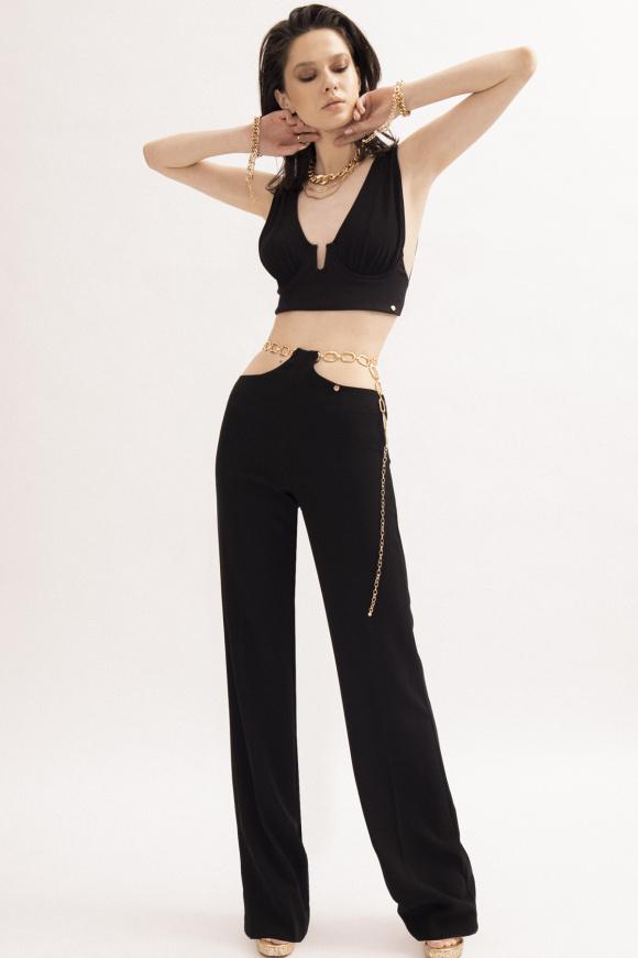 Pantaloni cu lant aplicat