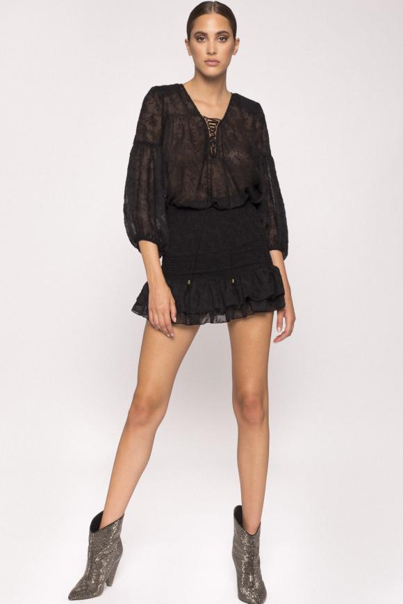 Ruffle-hem mini skirt