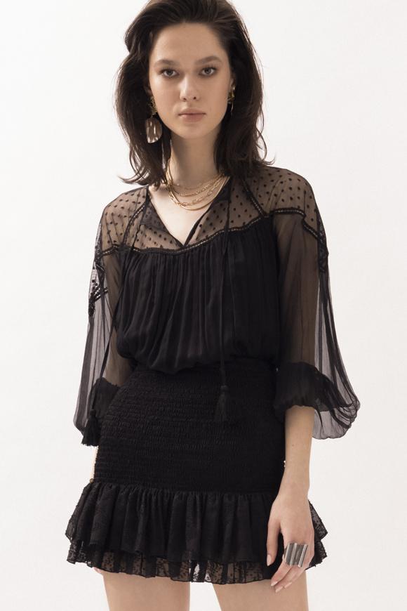 Transparent silk top