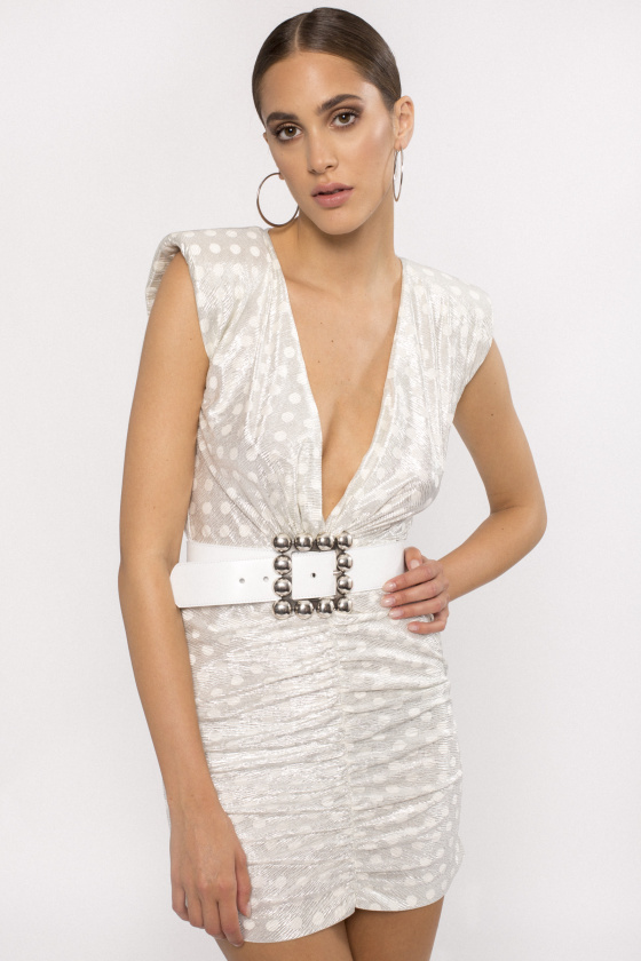 Metallic ruched mini dress