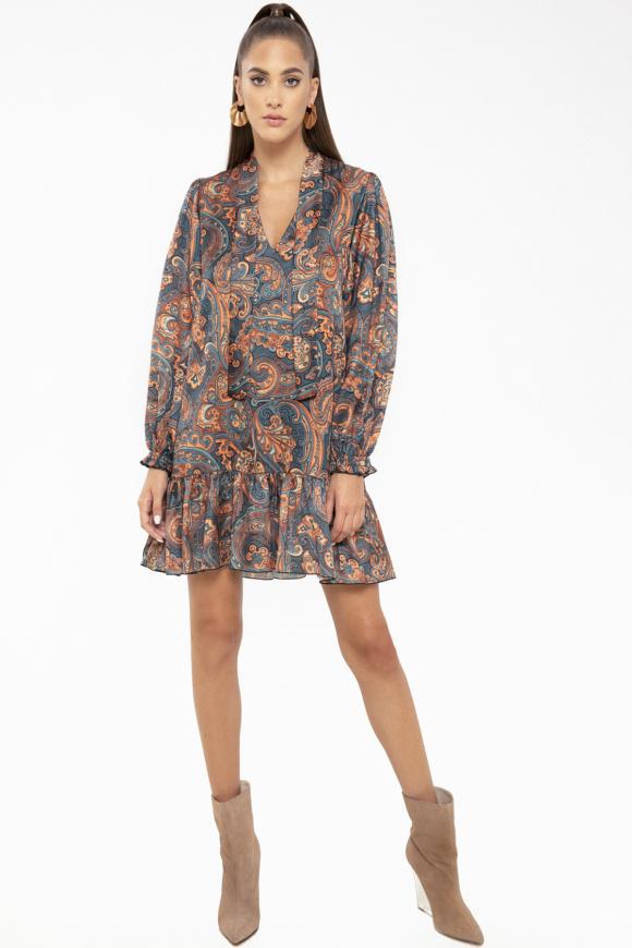Printed satin dress