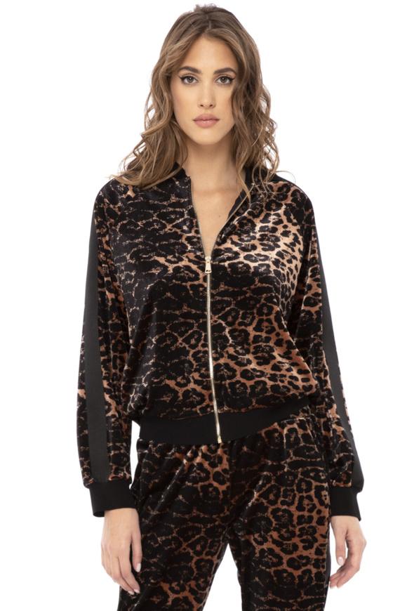 Jacheta din catifea cu imprimeu leopard
