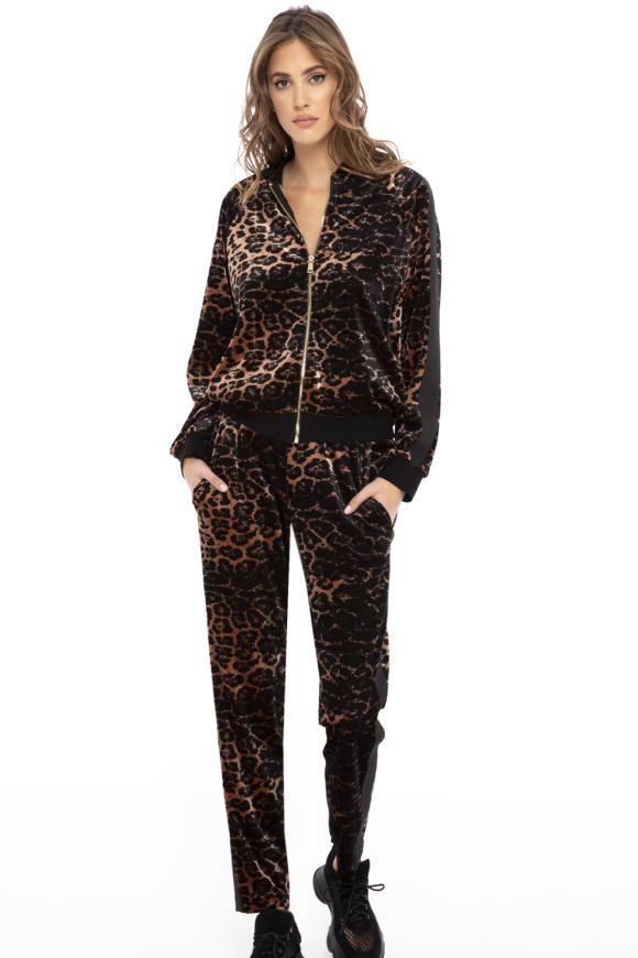 Pantaloni din catifea cu imprimeu leopard