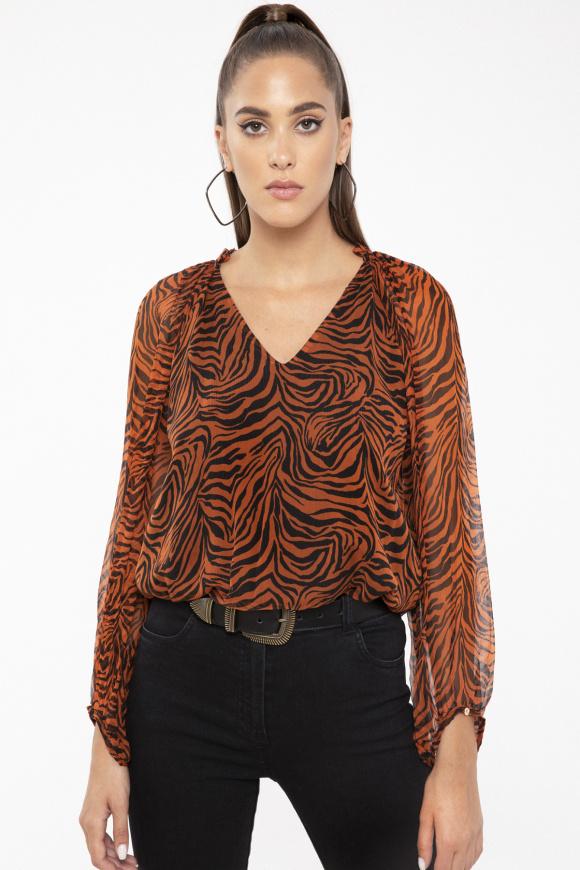 Zebra-print silk top