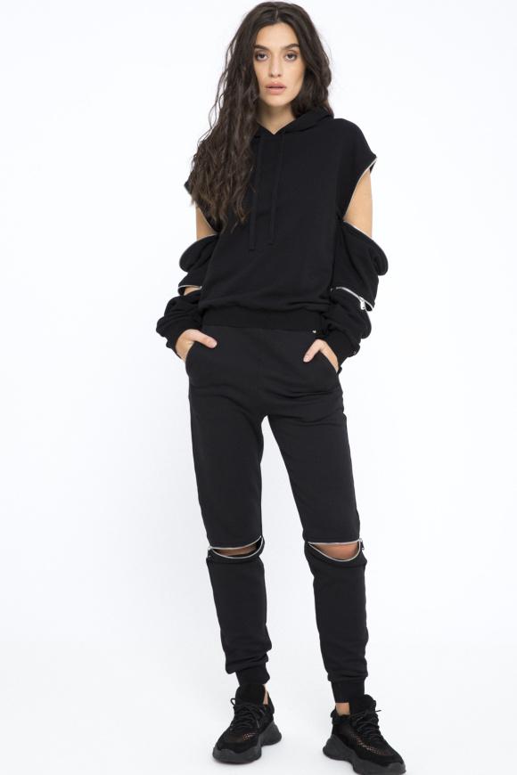 Front zipped cotton pants