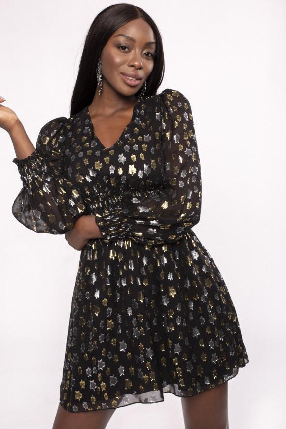 Puff sleeve silk dress