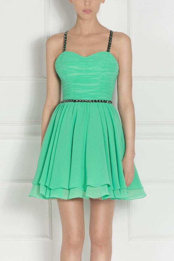 Rochie mini verde cu cristale aplicate