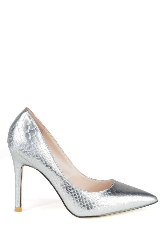 Pantofii stiletto argintii