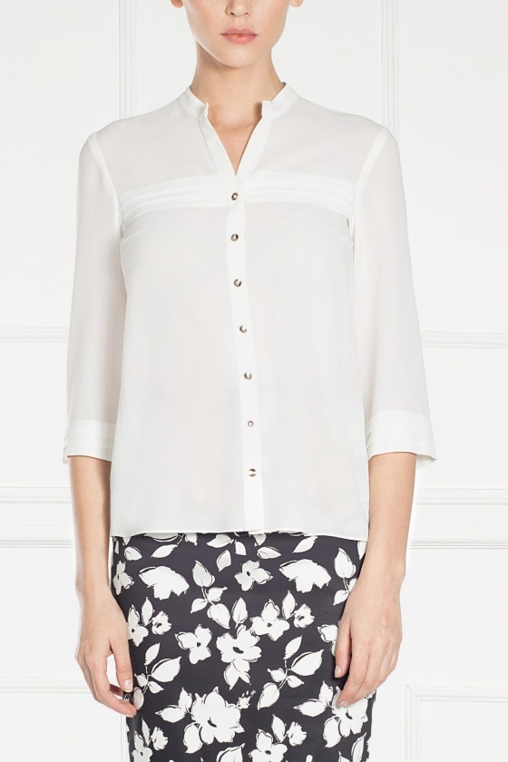 White shirt with metallic buttons
