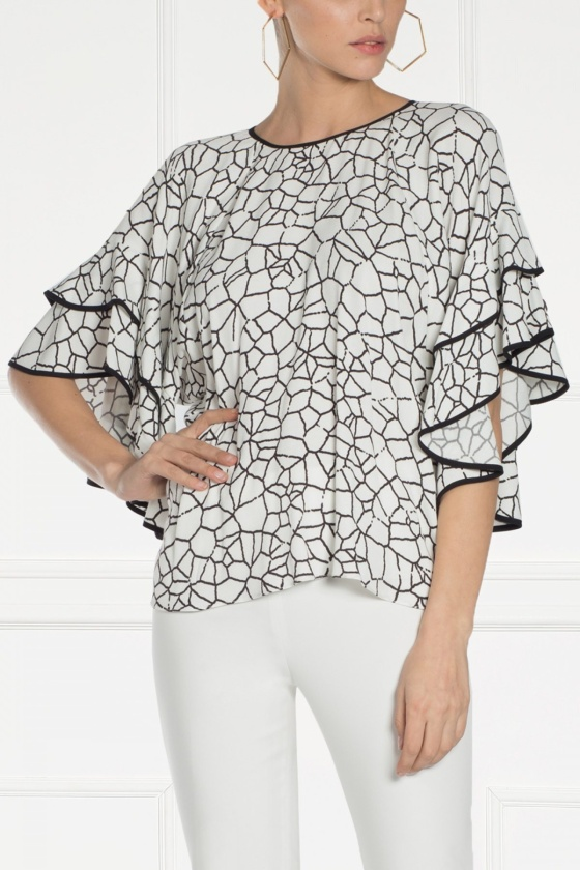 Geometric print white top