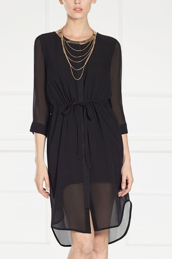 Black silk midi dress