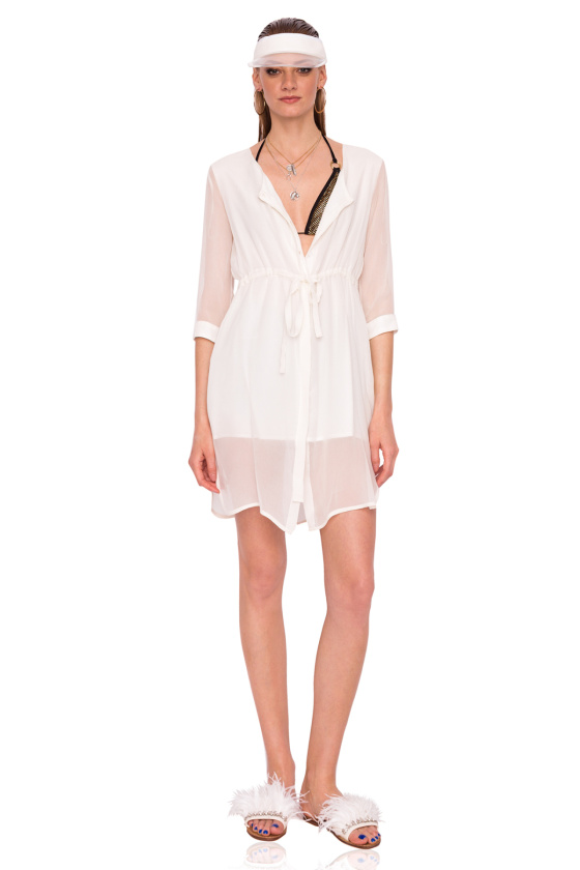 Cream silk midi dress