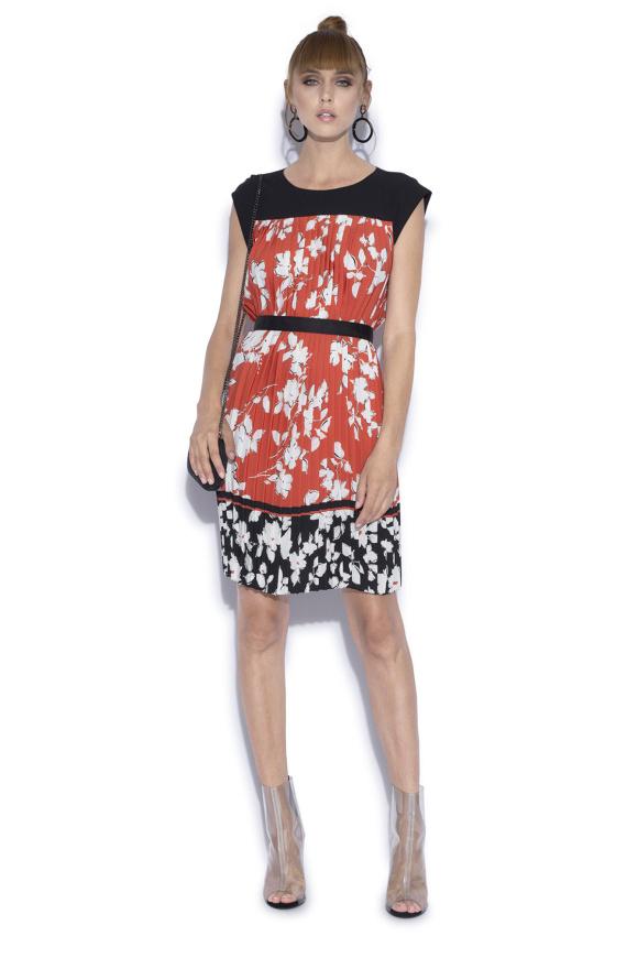 Rochie plisata cu imprimeu floral